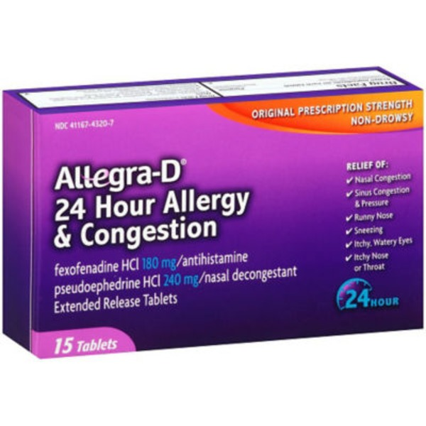 Allegra-D Allergy & Congestion Non-Drowsy Original Prescription Strength 24 Hour - 15 CT
