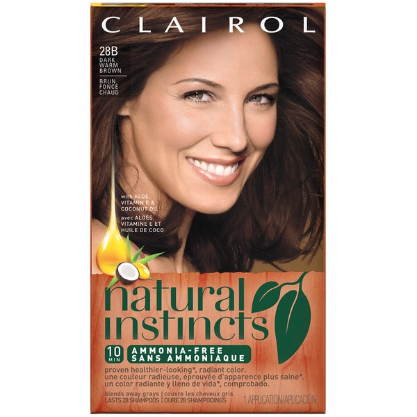Clairol Natural Instincts, 4W / 28B Roasted Chestnut Dark Warm Brown, Semi-Permanent Hair Color, 1 Kit Female Hair Color