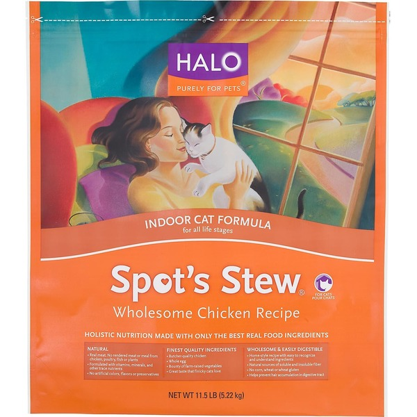 Halo Spot's Stew Indoor Formula Chicken Recipe Cat Food 11.5 Lbs.