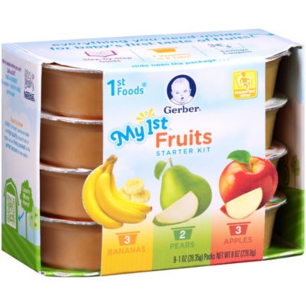 Gerber 1 St Foods My First Fruits Starter Kit Purees-Fruit
