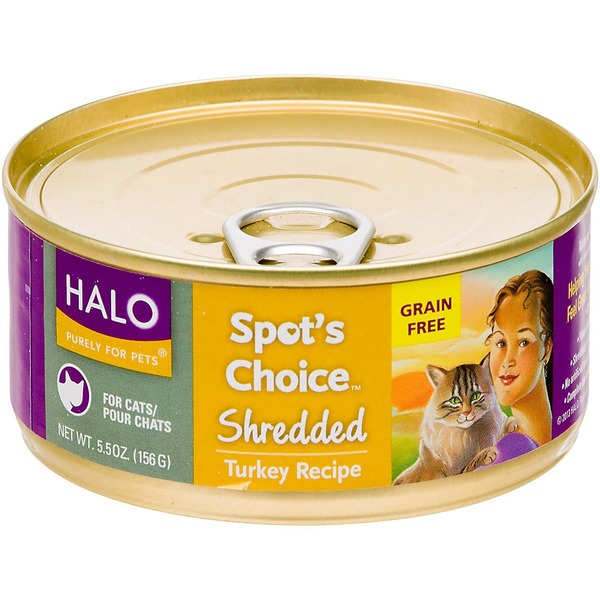 Halo Purely For Pets Spot's Choice Grain Free Shredded Turkey Recipe Cat Food