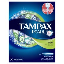 Tampax Pearl Super Plastic Tampons, Unscented, 18 Ct
