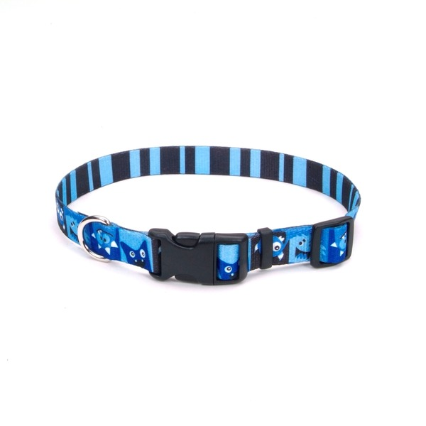 Petco Medium Blue Happy Monster Print Nylon Adjustable Dog Collar