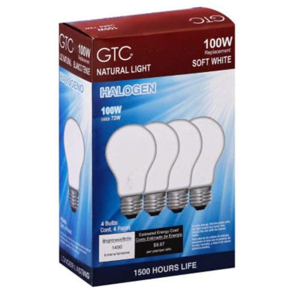 GTC 100 Watt Halogen Soft White Light Bulbs
