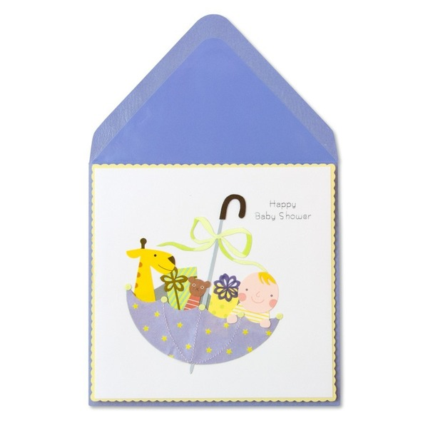 Papyrus Baby Greeting Card - Baby Presents In Umbrella