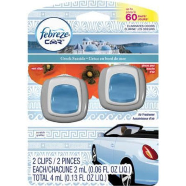 Febreze Car Vent Clips Greek Seaside Air Freshener (2 Count, .13 Oz)  Air Care