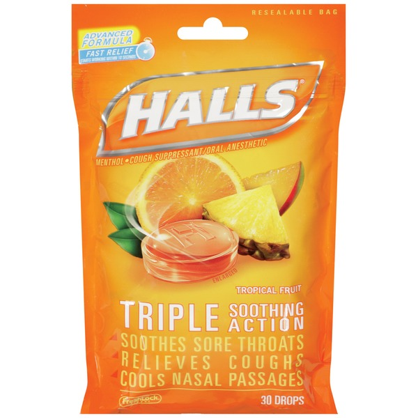 Halls Tropical Fruit Menthol Drops Cough Suppressant/Oral Anesthetic