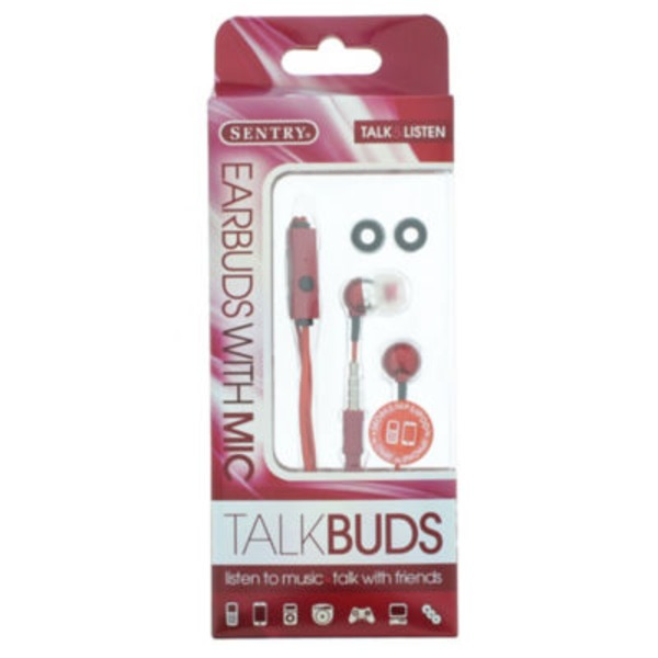 Sentry Pro Red Talk Buds Ear Buds With Mic
