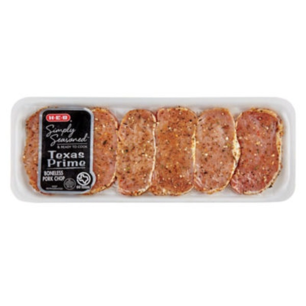 H-E-B Simply Seasoned Texas Prime Boneless Pork Chops