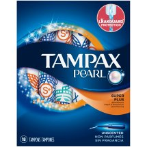 Tampax Pearl Super Plus Plastic Tampons, Unscented 18 Count