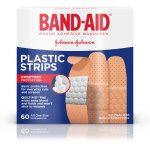 BAND-AID® Brand COMFORT-FLEX® Minor Wound Care Plastic Adhesive Bandages, Assorted Sizes, 60 Count