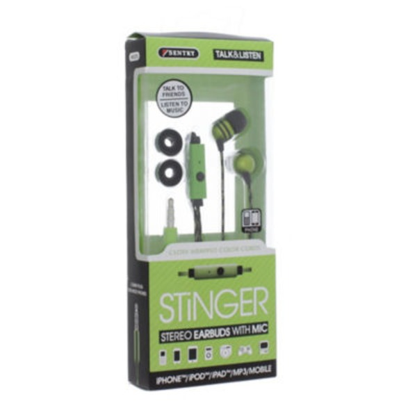 Sentry Pro Green Stinger Earbuds With Microphone