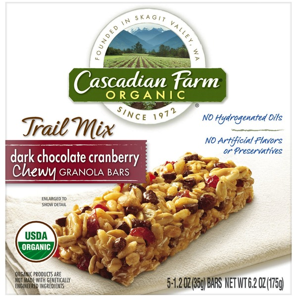 Cascadian Farm Organic Chewy Trail Mix Dark Chocolate Cranberry Granola Bars