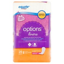 Equate Options Incontinence Liners for Women, Very Light, Regular Length, 26 Ct