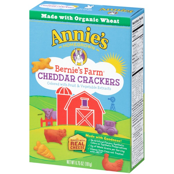 Annie's Homegrown Cheddar Crackers Bernie's Farm Crackers