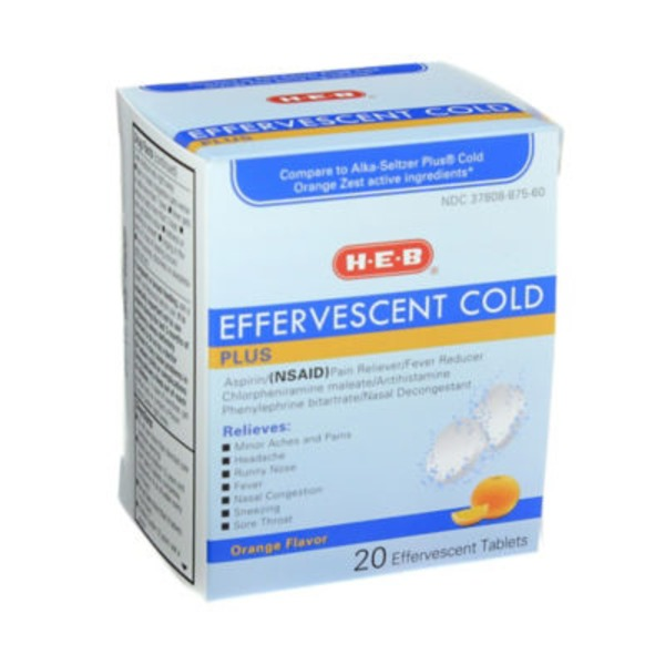 H-E-B Effervescent Cold Plus Orange Flavor Tablets