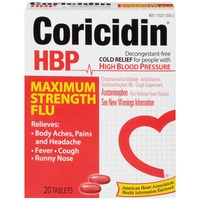 Coricidin HBP Maximum Strength Flu Tablets Cold Relief