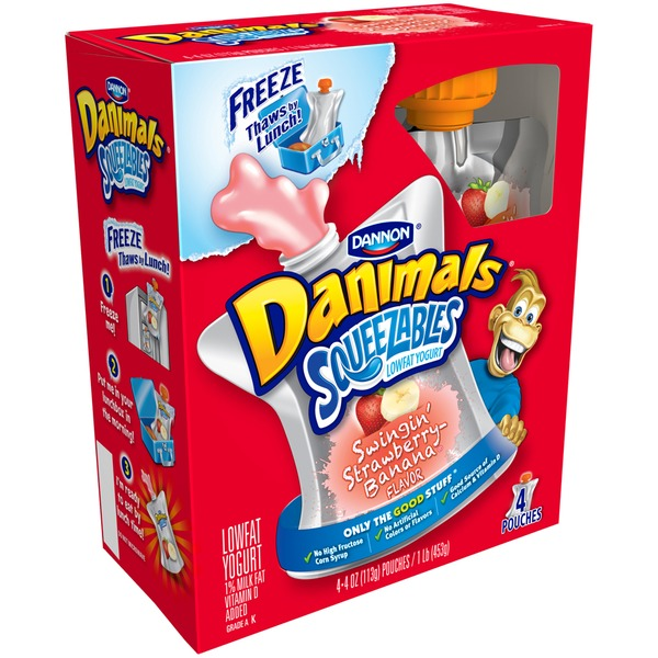 Danimals Squeezables Strawberry Banana Split 4 Oz Lowfat Yogurt
