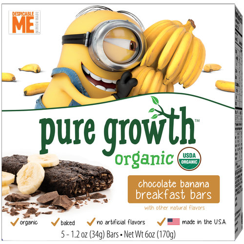 Pure Growth Organic Despicable Me Minions Chocolate Banana Breakfast Bars