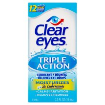 Clear Eyes Triple Action Sterile Lubricant / Redness Reliever Eye Drops, 0.5 fl oz