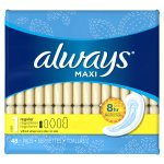 Always Maxi Size 1 Regular Pads Without Wings, Unscented, 48 Count