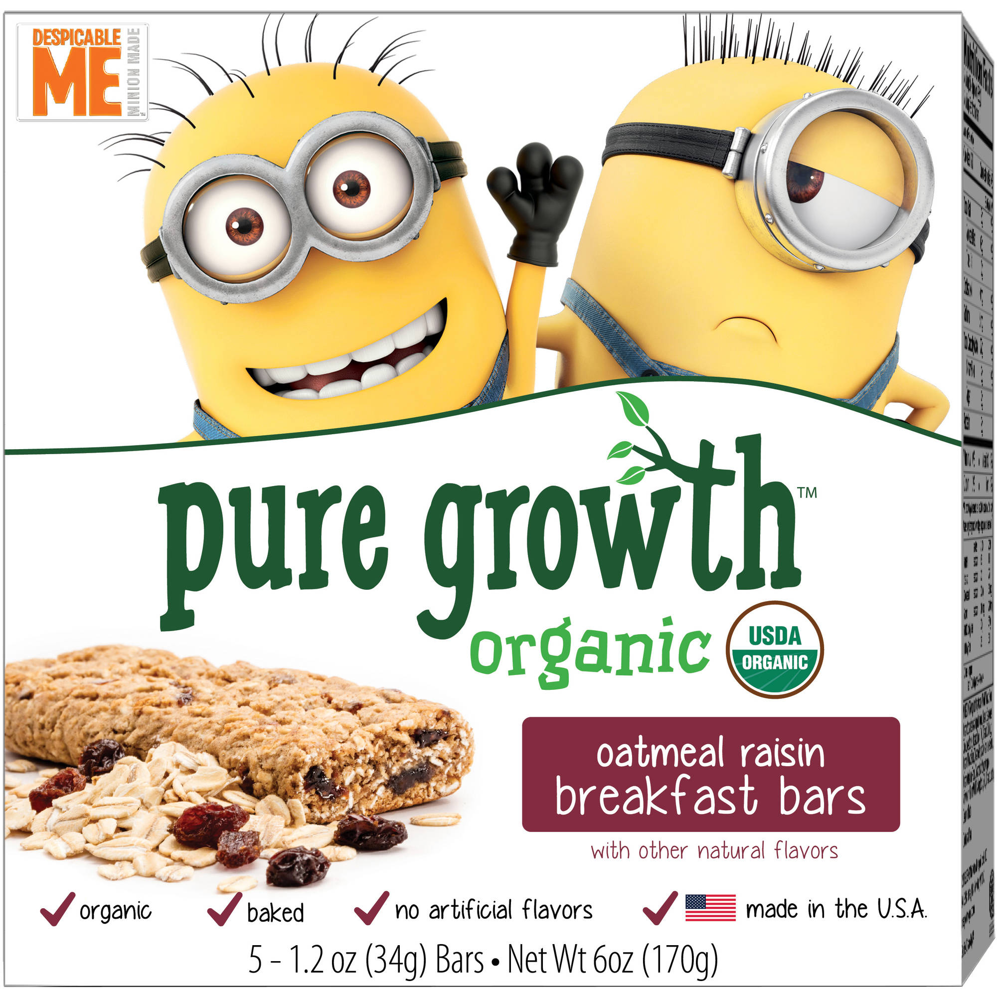 Pure Growth Organic Despicable Me Minions Oatmeal Raisin Breakfast Bars