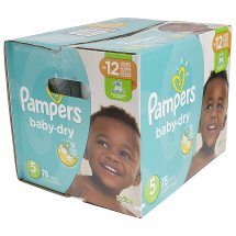 Pampers Baby Dry Diapers, Size 5, 78 Diapers