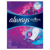 Always Radiant Daily Liners, Regular, 48 Count