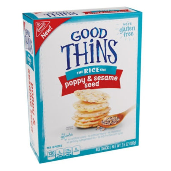 Nabisco Rice Thins Gluten Free Poppy & Sesame Seed Crackers