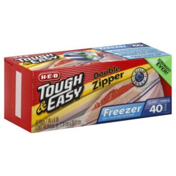 H-E-B Tough & Easy Double Zipper Quart Freezer Bags