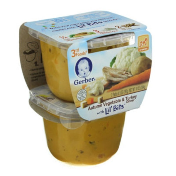 Gerber 3 Rd Foods Autumn Vegetable & Turkey Dinner with Lil' Bits  Baby Food