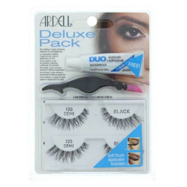 Ardell Deluxe Pack Kit, 2 Pairs Of Lashes, Adhesive And Applicator 120 Demi/Black