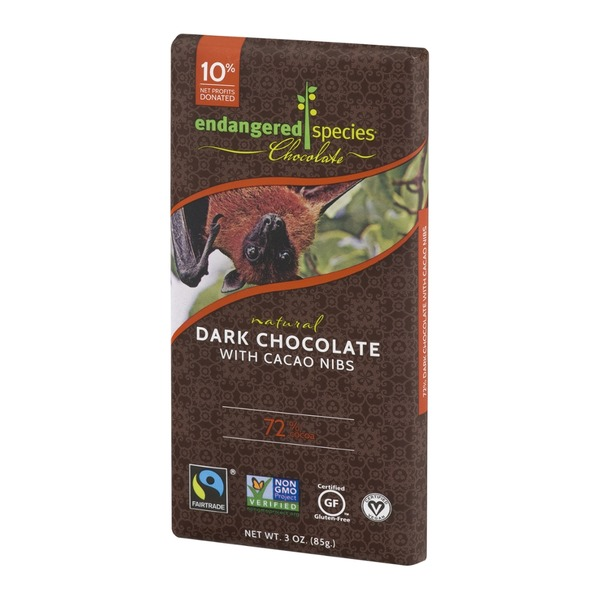 Endangered Species Chocolate Dark Chocolate With Cacao Nibs 72% Cocoa