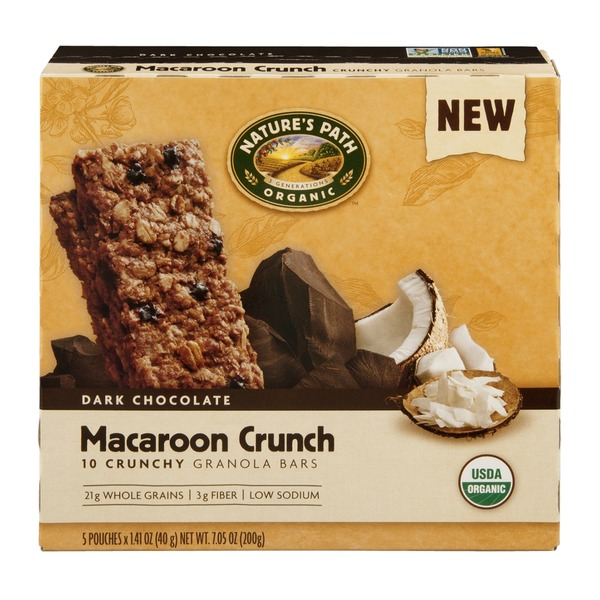 Nature's Path Crunchy Granola Bars Dark Chocolate Macaroon Crunch - 10 CT