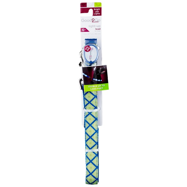 Good2 Go Geometric Blue & Green Square Print Light Up LED Dog Lead 6' L X 1