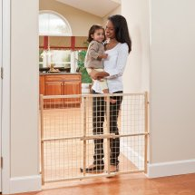 Evenflo Position and Lock Tall Natural Wood Baby Gate, 31'-50'