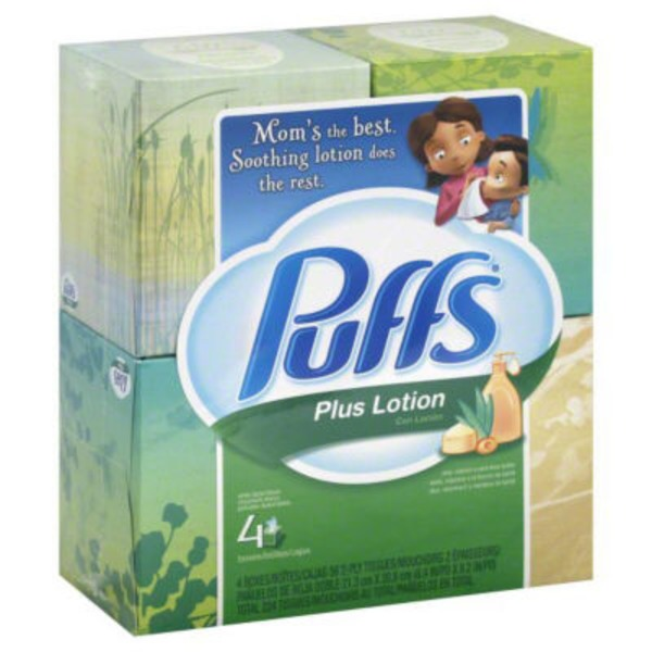 Puffs Plus Puffs Plus Lotion Facial Tissues; 4 Cubes; 56 Tissues per Box Personal Tissue