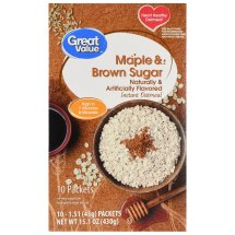 Great Value Instant Oatmeal, Maple & Brown Sugar, 15.1 oz, 10 Count