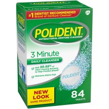 Polident® 3 Minute Triple Mint Antibacterial Daily Denture Cleanser Effervescent Tablets 84 ct Box