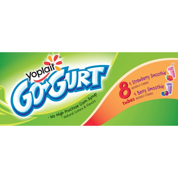 Yoplait Go-Gurt Berry Smoothie/Strawberry Smoothie Variety Pack Portable Low Fat Yogurt