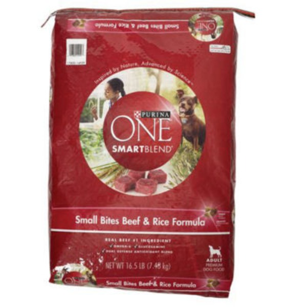Purina One Dog Dry SmartBlend Small Bites Beef & Rice Formula Adult Dog Food