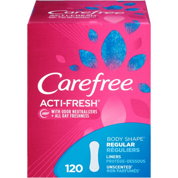 Carefree Acti-Fresh Body Shape Regular Unscented Panty Liners