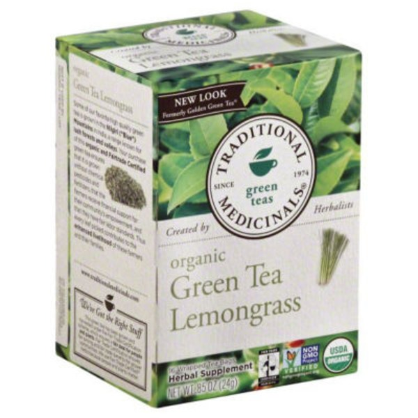 Traditional Medicinals Green Teas Organic Green Tea Lemongrass Wrapped Tea Bags - 16 CT