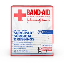 BAND-AID® Brand of First Aid Products SURGIPAD® Surgical Dressings for Heavily Draining Wounds, 5 Inches by 9 Inches, 12 Count