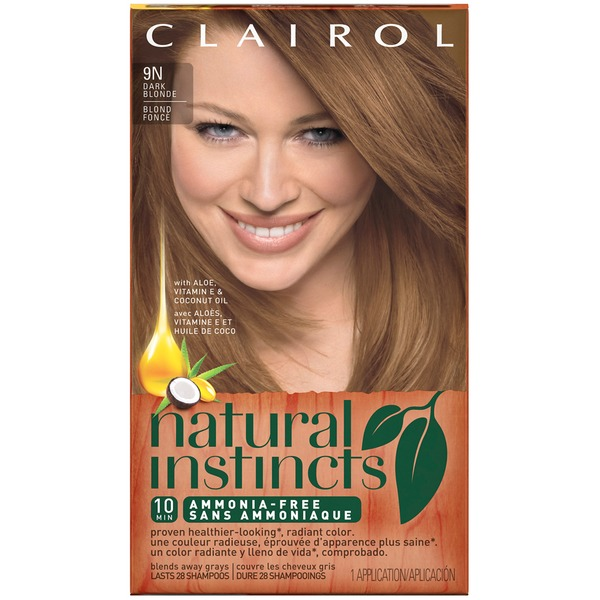 Clairol Natural Instincts, 7 / 9N Coastal Dune Dark Blonde, Semi-Permanent Hair Color, 1 Kit Female Hair Color