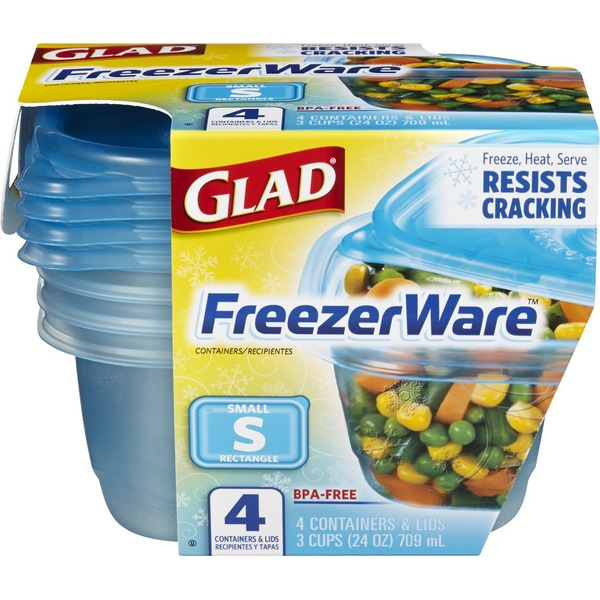 Glad FreezerWare Small Rectangle - 4 CT