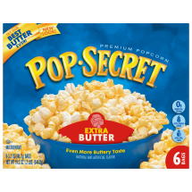Pop Secret Microwave Popcorn, Extra Butter, 6 Pack Box, 19.2 Oz