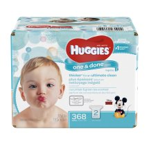 Huggies One & Done Baby Wipes, Refills, 2 packs of 184 (368 count)
