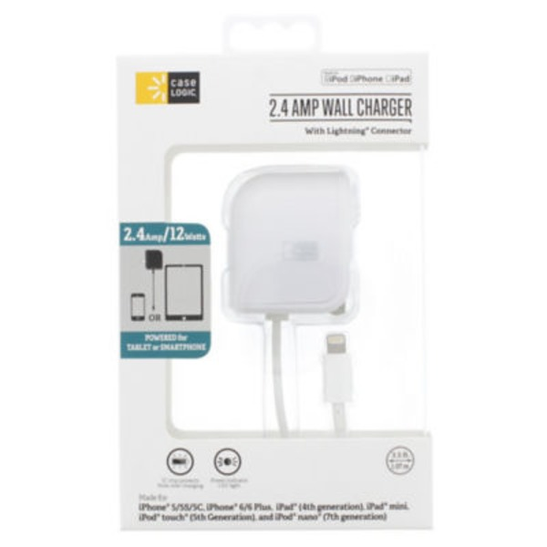 Case Logic 2.4 Amp Wall Charger With Lightning Connector