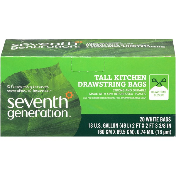 Seventh Generation 13 Gal with Drawstring Closure White Tall Kitchen Bags